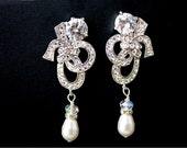 Great Gatsby- Vintage 1920's Art Deco , Bridal earrings, Wedding Jewelry, Swarovski Crystal, Drop Earrings , Pearl Earrings