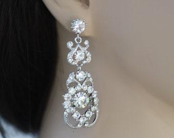 Kristina Bella Swarovski crystal chandelier bridal earrings