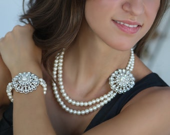 Karla Swarovski crystal double strand pearl necklace