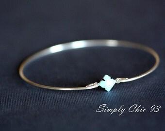 Single Stone Turquoise Diamond Shape Silver Bangle Bracelet