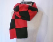 SALE Fleece ColorBlock Scarf for Men or Women - Red and Black, FREE SHIPPING