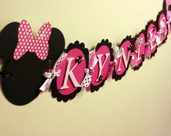 Deluxe Minnie Mouse Name Banner Pink, black and white