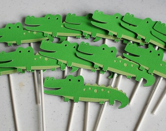 12 Green Alligator Jungle Zoo Animal Cupcake Toppers
