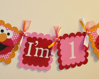 Girly Elmo Inspired  Pink and Red I am 1 Highchair Banner