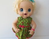 Waldorf Doll Clothes - Watermelon Dress Fits 14 - 16 Waldorf Dolls, Bitty Baby, Baby Alive