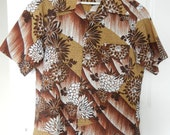 Vintage 1960s HaVintage Hawaiian Shirt Medium Shirt Mens Gifts for Him Christmas Gifts Men's Vintage Brown Shirts Retro Shirts 1950s clothes