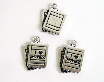3 pcs - Silver Tone Movie Tickets Charms Pendants