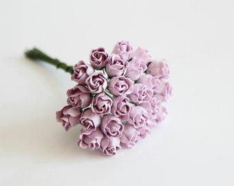 25 pcs - Lilac Mulberry Paper Semiopen Rose buds