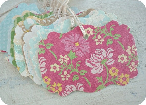2.00 SALE - NEW SET - My Springtime Shabby Chic Wedding Tags or Labels - Set of 23