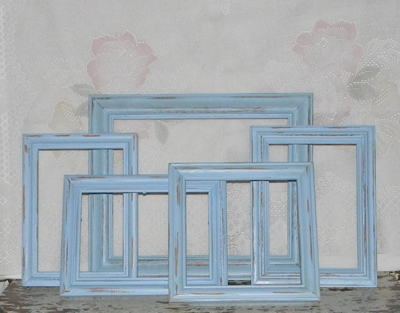 Cottage Chic Frames Set of 5 Distressed Blue Open Empty Frames