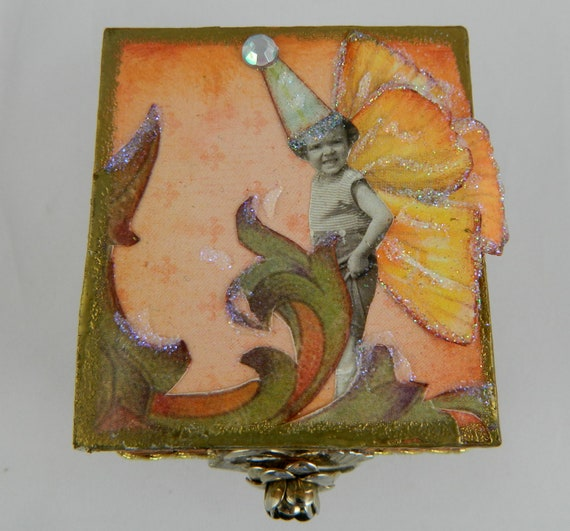 Altered art Jewelry box altered box re-gifting box - treasure box - fairy peach, browns and greens  Heirloom box gift ideas OOAK