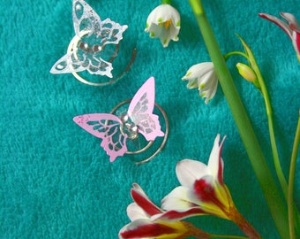Butterfly Hairclips, Set of three Handpainted Fairy Wing Bridal Hair Clips, Flower Girls Hair Accessory, Custom Colour Option