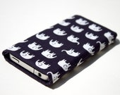 Fabric case for iPhone 4 & 4S - An Elephant Never Forgets fabric sleeve / case / cover in dark blue