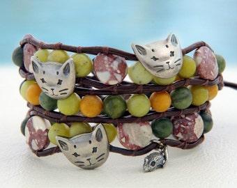 Cat and Mouse... Leather wrap bracelet... Beaded triple wrap bracelet. Original OceanBead Style.
