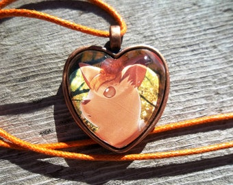 Vulpix Heart Charm made from Pokemon Cards