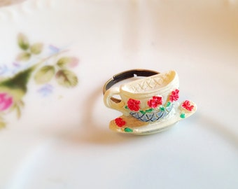 Miniature Teacup Adjustable Ring. Tea Party. White. Pink. Whimsical. Gifts for Her. Unique Ring. Brass. 10 Dollars.