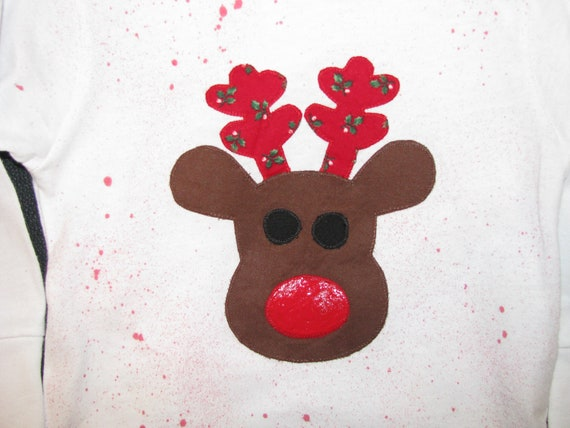 Christmas shirt with Rudolph applique
