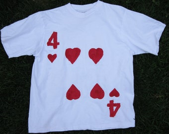 Upcycled Clothing Alice in Wonderland 4 of Hearts Royal Cardsman T-Shirt (White with Red Painted Design)