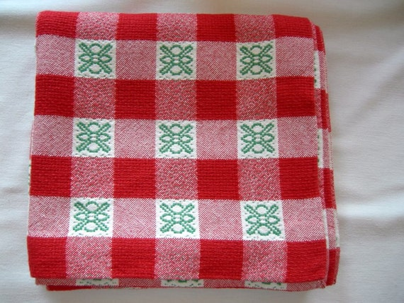 Checked German Vintage Folk Art rustic red white and green squareTable Linen Table Topper Runner from the80ies
