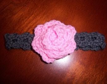 Crocheted Elegant Rose Headband