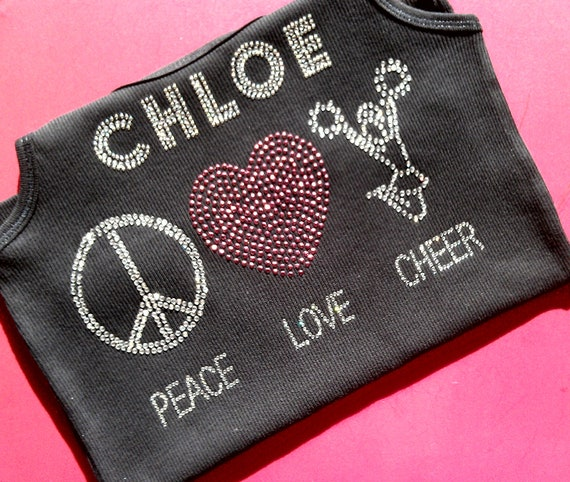 Custom rhinestone SHORT SLEEVE Peace Love Cheer heart cheerleader pom pom personalized name sparkly bling shirt