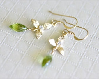 August Birthstone Earrings, Peridot Faceted Dew Drop Briolettes, Gold Orchid Connector, Gold-filled Earwires. E087.