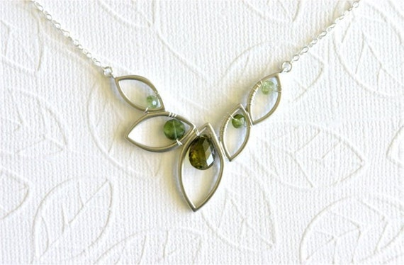 October Birthstone Necklace, Tourmaline Faceted Pear, Coin, Rondelles, Silver Marquise Leaf Link, Sterling Silver Chain and Wire. N052b.