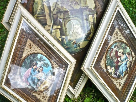 Diamond Frames, Vintage Frame Set, Two Small Diamond Wall Art, Turner Wall Decor, Renaissance Regency Art, Creamy White Frames, Romantic Art