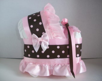 pink and brown polka dot dots girl diaper bassinet baby shower gift table decoration centerpiece