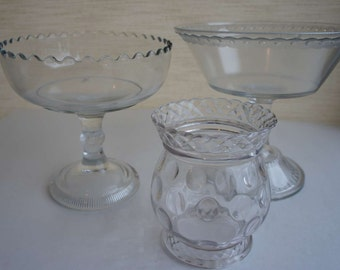 Set 3 Vintage Footed Glass Bowls Compotes for Wedding, Party