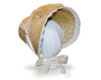 Austentation Jane Austen Regency 1812 Poke Bonnet: Eliza with Cream