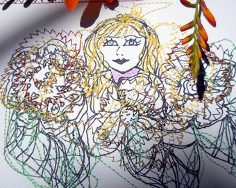 Flower Girl Card, Sewn Art Card, Fiber Art Picture, Mixed Media Art Card, Nora Jewel Art, Sewn Wall Art,  Kathleen Leasure, FromGlenToGlen