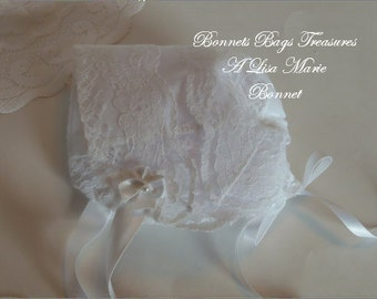 Heirloom Baby Bonnet with BRIDAL LACE great gift for baby showers Christening and Dedications or just to wear - Magic hanky bonnet