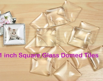 Square 1 inch Glass - 1 Inch Square Craft Glass Tiles - Square Glass for DIY Pendant and Crafts - 50 Square Glass Domes