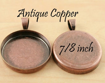 10 Vintage ANTIQUE COPPER Pendant Tray Bezels, 7/8 inch, Great for Photo Charm Necklaces