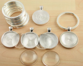 50 KEY Ring Making SETS Blank 1 inch Round Pendant Trays, Glass Domes, Large 25mm Split Rings - ...