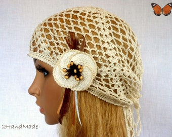 Woman Lace Crochet Vintage Beige Ivory Headband Dreadlock Hair Snood Wrap Ponytail Kerchief Bandana Gypsy Pirate Tam Dreads Hat Summer