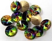 12 Vitrail Medium 39ss Swarovski Rivoli Rhinestones-bulk rhinestones-wholesale rhinestones-jewelry supplies-loose swarovski rhinestones