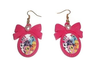 My Little Pony Earrings, Kawaii Friendship is Magic Pony Jewelry, Hot Pink Cameo