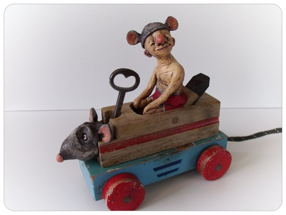 Rat-Bot - Original Assemblage - Polymer Clay - Wood Plane - Toy Car - Recycled Art