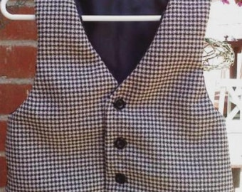 Black and Tan Houndstooth little boys  VEST & BOW TIE,  wedding suits for little boys  sz 2-3yrs or 4-6yrs