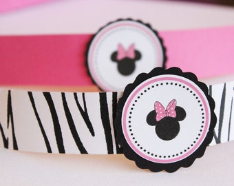 Minnie Mouse Birthday Party // Decorations // pink and black // napkin rings // utensils // polka dots // pink and zebra // minnie party