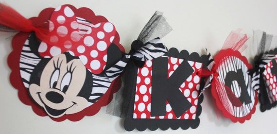 Minnie Mouse Birthday Party // Banner // Name banner // Minnie Decorations // Party // Red and back // Zebra // Polka Dots // Name banner