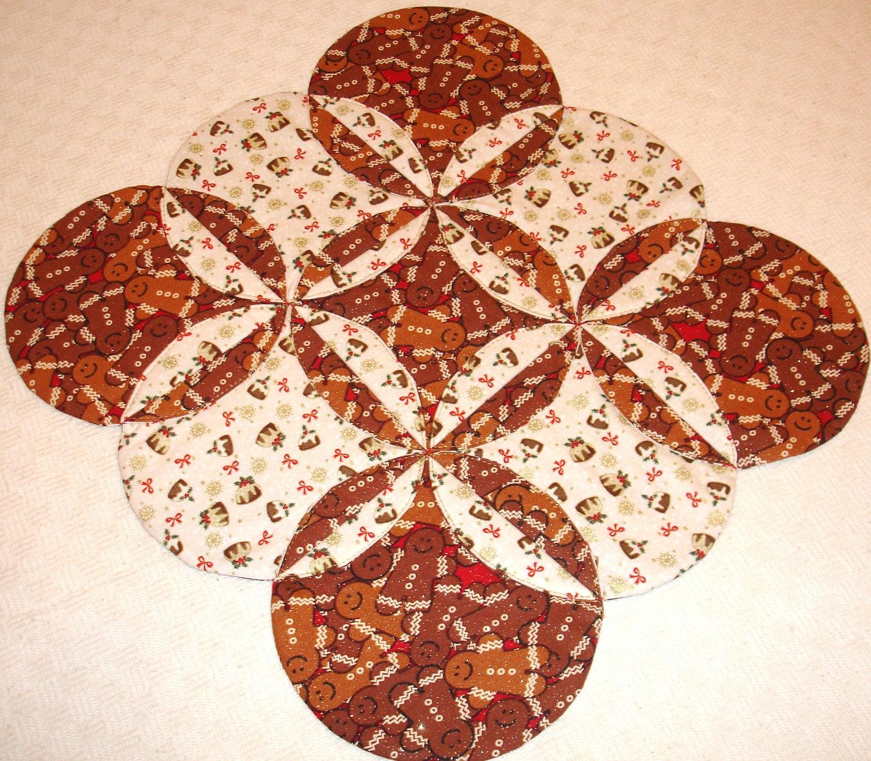 Gingerbread Man Christmas Table Topper Runner Quilt
