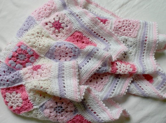Crochet Baby Blanket, Pink, Lavender, White Granny Square Afghan- Baby Girl- Ready to Ship