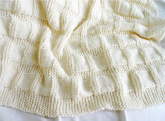 Knit Ecru Blanket- Baby Afghan- Off White- Boy Or Girl