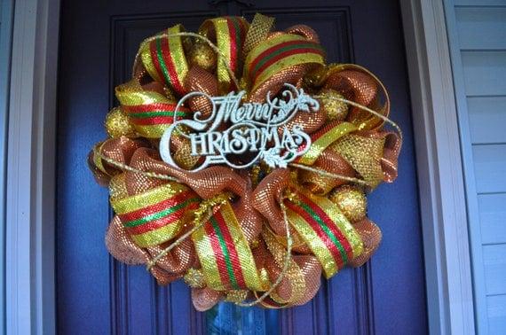 Christmas Wreath, Christmas, Wreath, Christmas Decor, Christmas Decoration, Gold Wreath, Gold Decor, Gold Decoration