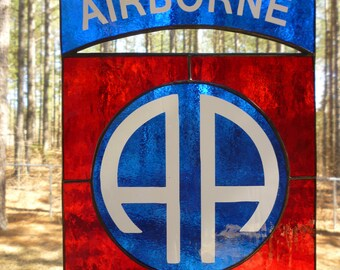 82nd AIRBORNE DIVISION Stained Glass Crest