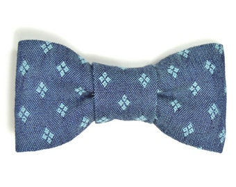 Men Dark blue Chambray light blue diamonds bowtie Kids Clip-On Bow Tie