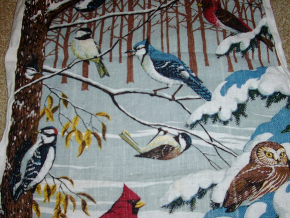 Nice Vintage Bird Kitchen Towel Cardinal, Blue Jay, Owl, Woodpecker Plus More